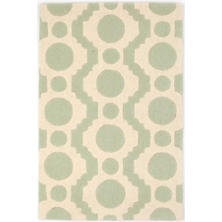 Circle Fret Ocean Wool Tufted Rug