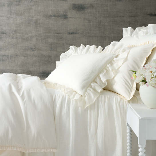 Classic Ruffle Ivory Duvet Cover