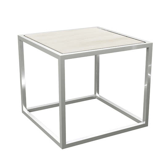 Clear Coat Metal Stockbridge White Wash Wood Plank Side Table