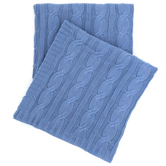 Comfy Cable Knit French Blue Throw