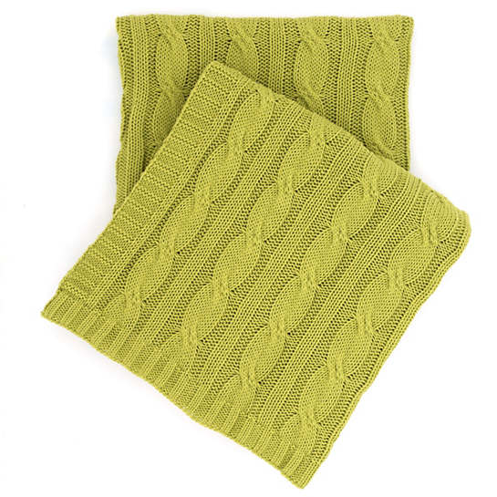 Comfy Cable Knit Green Throw