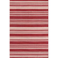 Cottage Stripe Crimson Wool Woven  Rug