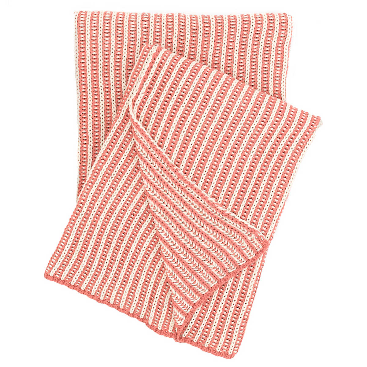 avery coral cotton blanket  the outlet - cozy knit coral throw