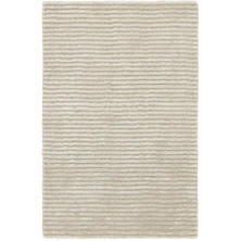Cut Stripe Silver Viscose Hand Knotted Rug