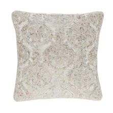 Damask Velvet Embroidered Grey Decorative Pillow