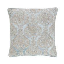 Damask Velvet Embroidered Robin's Egg Blue Decorative Pillow