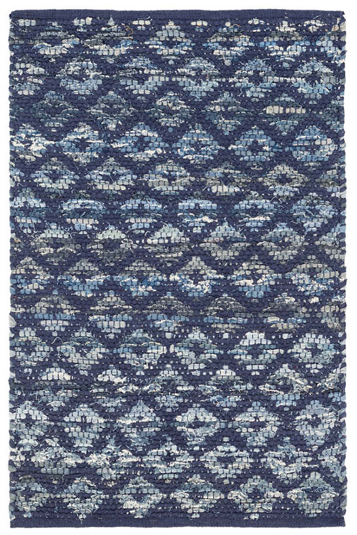Denim Rag Diamond Indigo Woven Cotton Rug