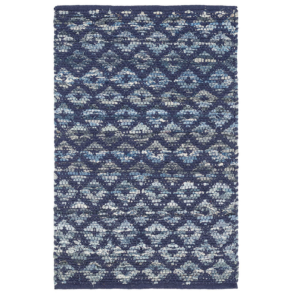Denim Rag Diamond Indigo Woven Cotton Rug Dash Amp Albert