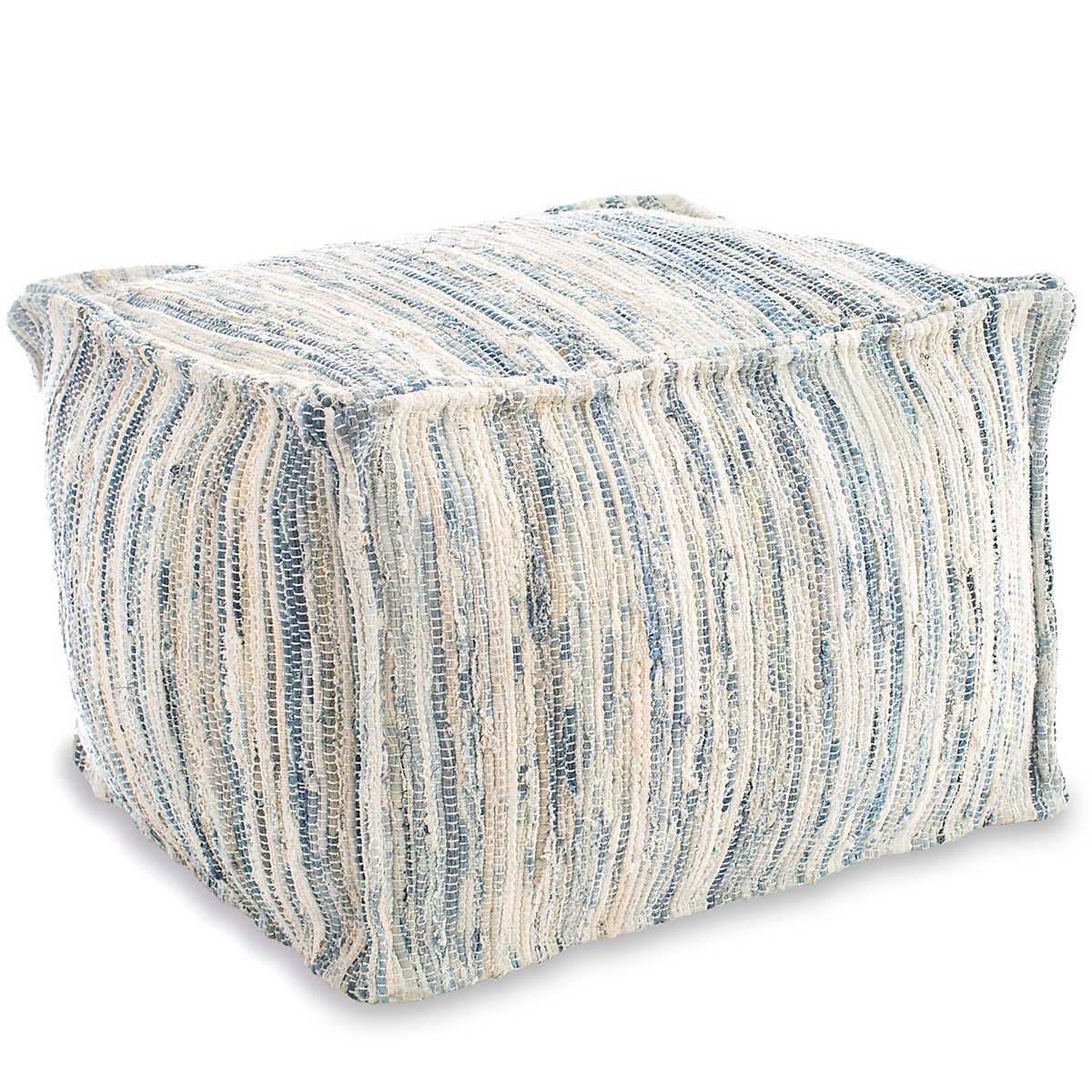 denim rag woven pouf fresh american. Black Bedroom Furniture Sets. Home Design Ideas