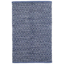 Diamond Chenille Blue Woven Cotton Rug