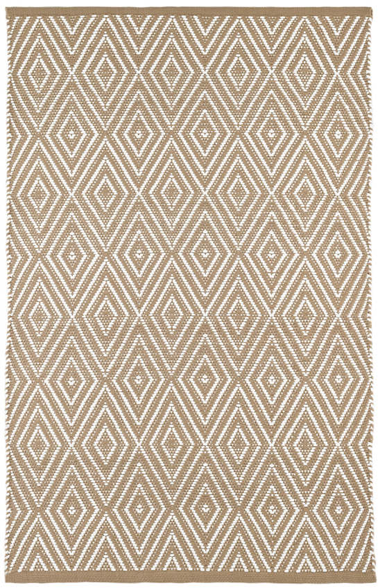 Diamond khaki white indoor outdoor rug dash albert for Dash and albert indoor outdoor rugs