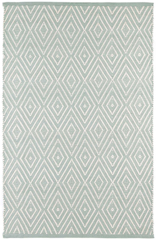 Diamond Light Blue Ivory Indoor Outdoor Rug