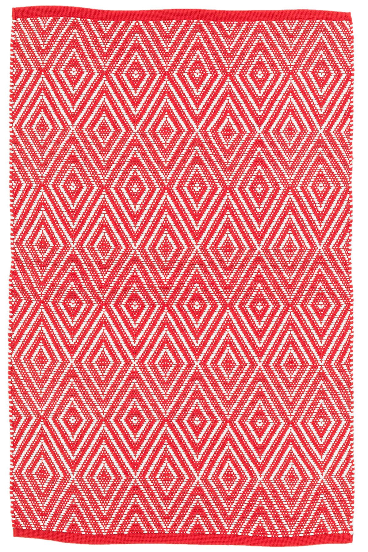 Diamond Red/White Indoor/Outdoor Rug