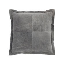 Distressed Leather Vintage Grey Pillow