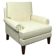Adams Ticking Light Blue Easton Chair