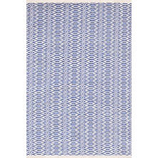 Fair Isle French Blue/Ivory Cotton  Woven  Rug