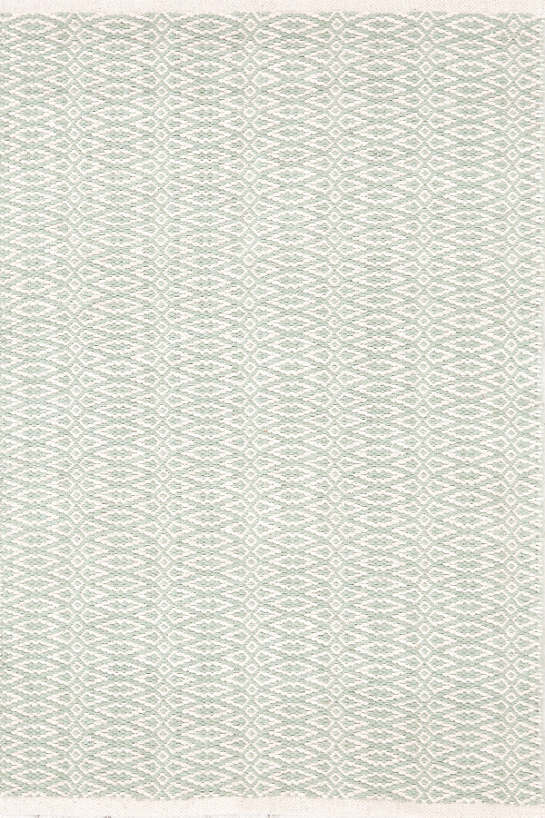Fair Isle Ocean/Ivory Cotton  Woven  Rug