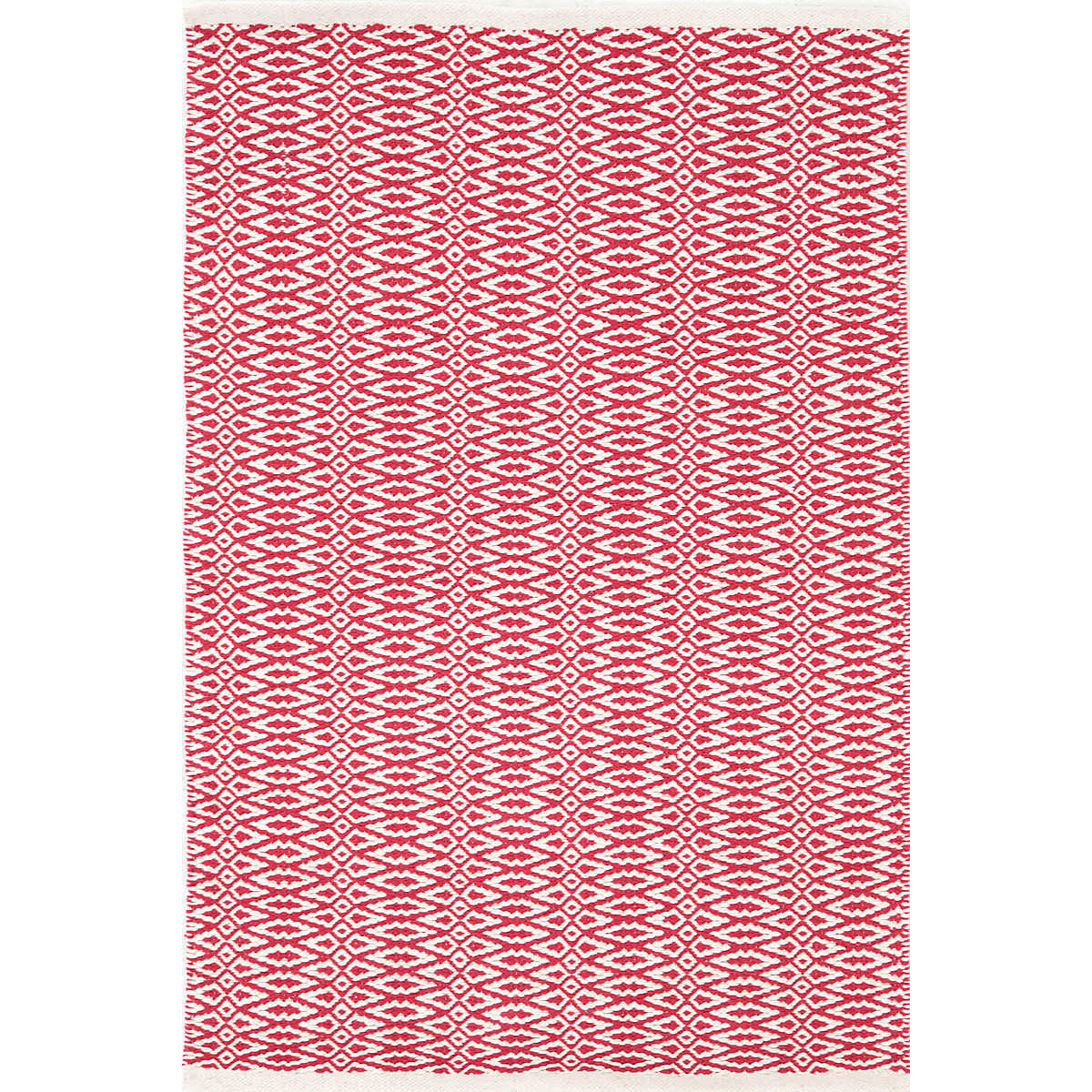 Bright red bathroom rugs - Fair Isle Red Ivory Cotton Woven Rug