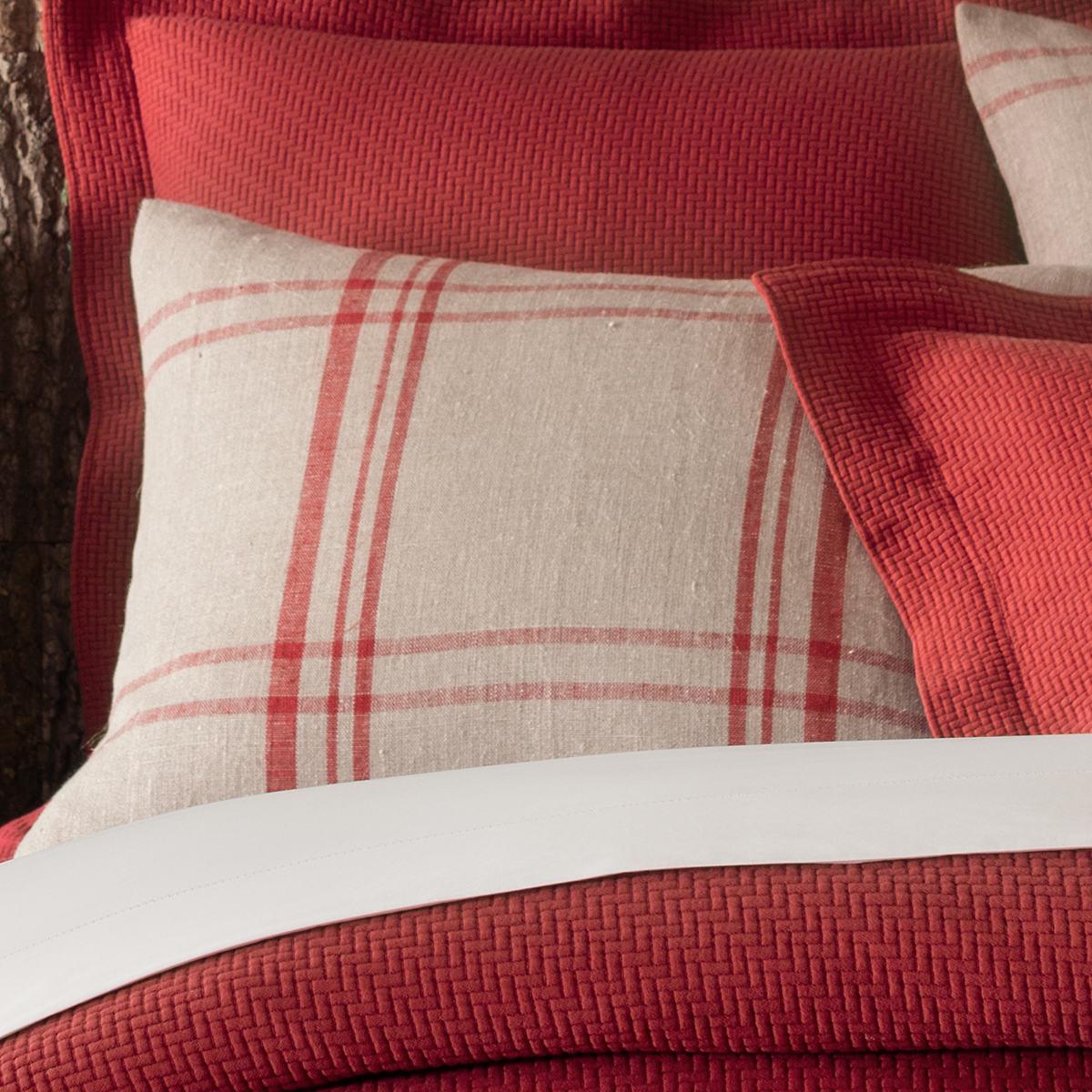 Farmhouse Linen Crimson/Natural Sham