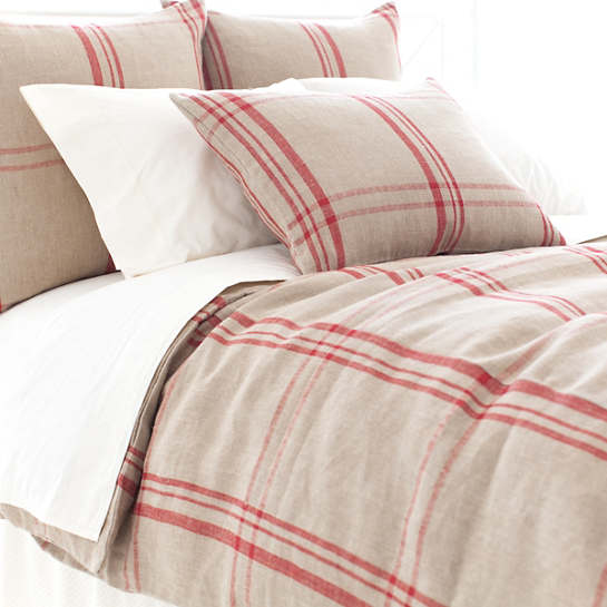 Farmhouse Linen Crimson Natural Duvet Cover