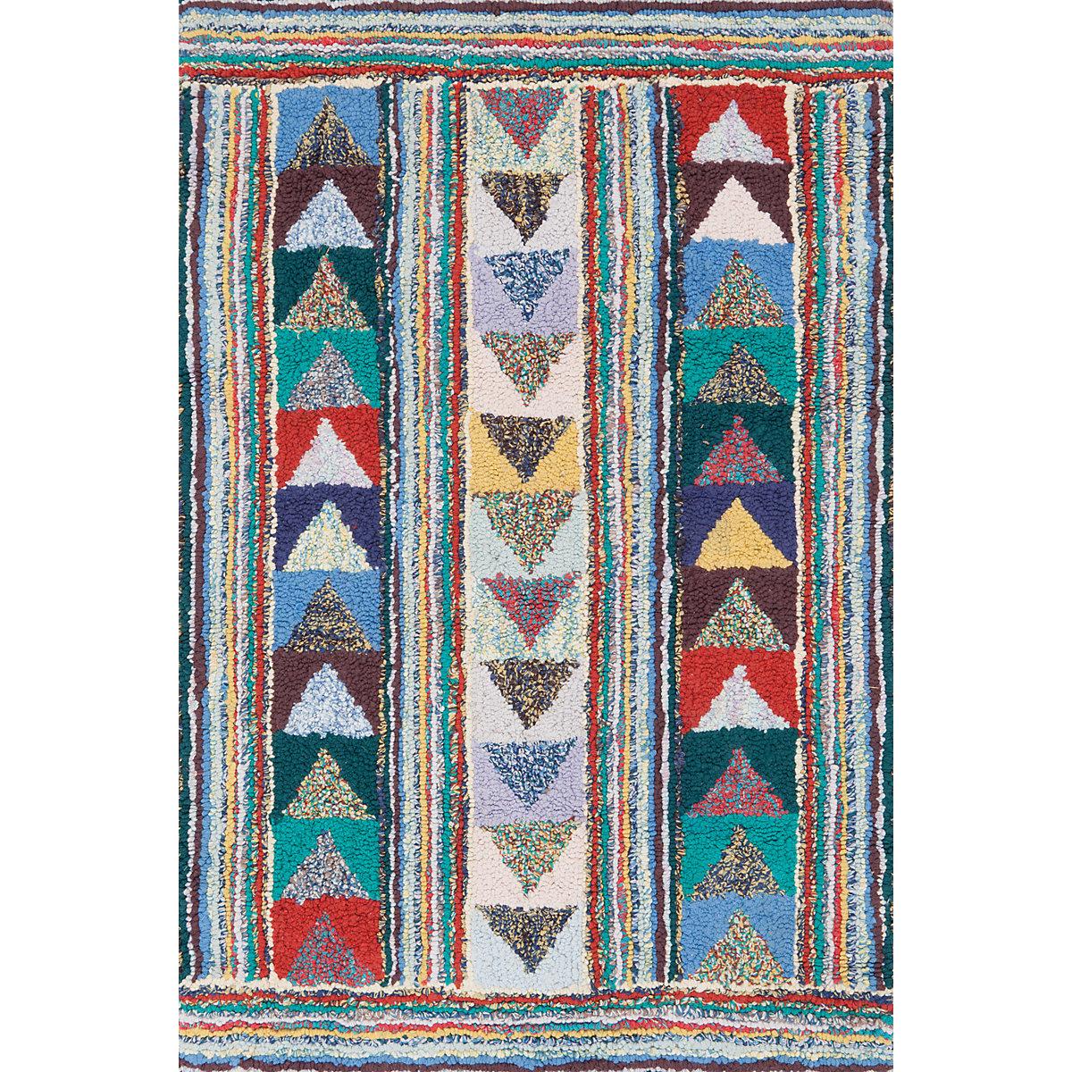 Follow The Arrows Cotton Yarn Hooked Rug