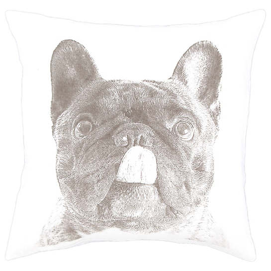 French Bull White Decorative Pillow