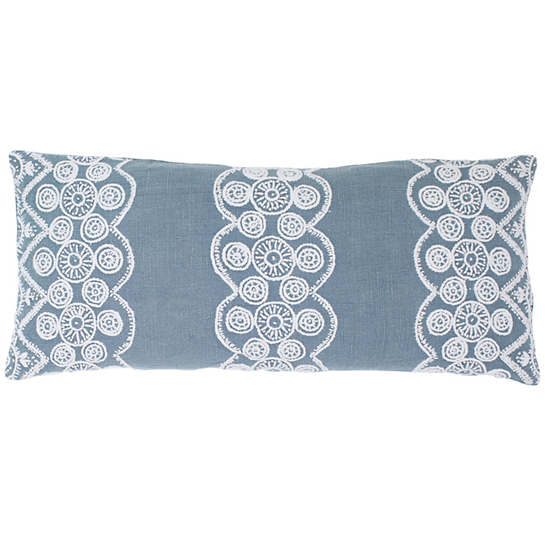 French Knot Blue Decorative Pillow