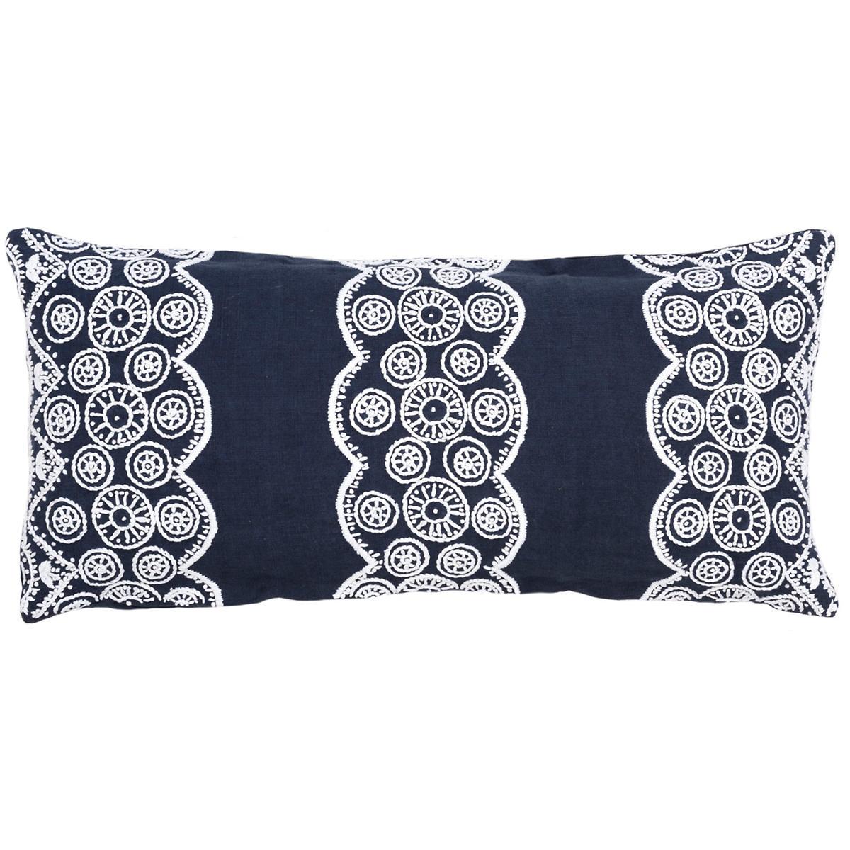 French Knot Indigo Decorative Pillow Double Boudoir
