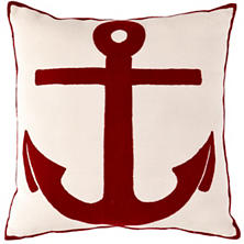 Fresh American Admiral Ivory/Red Indoor/Outdoor Pillow