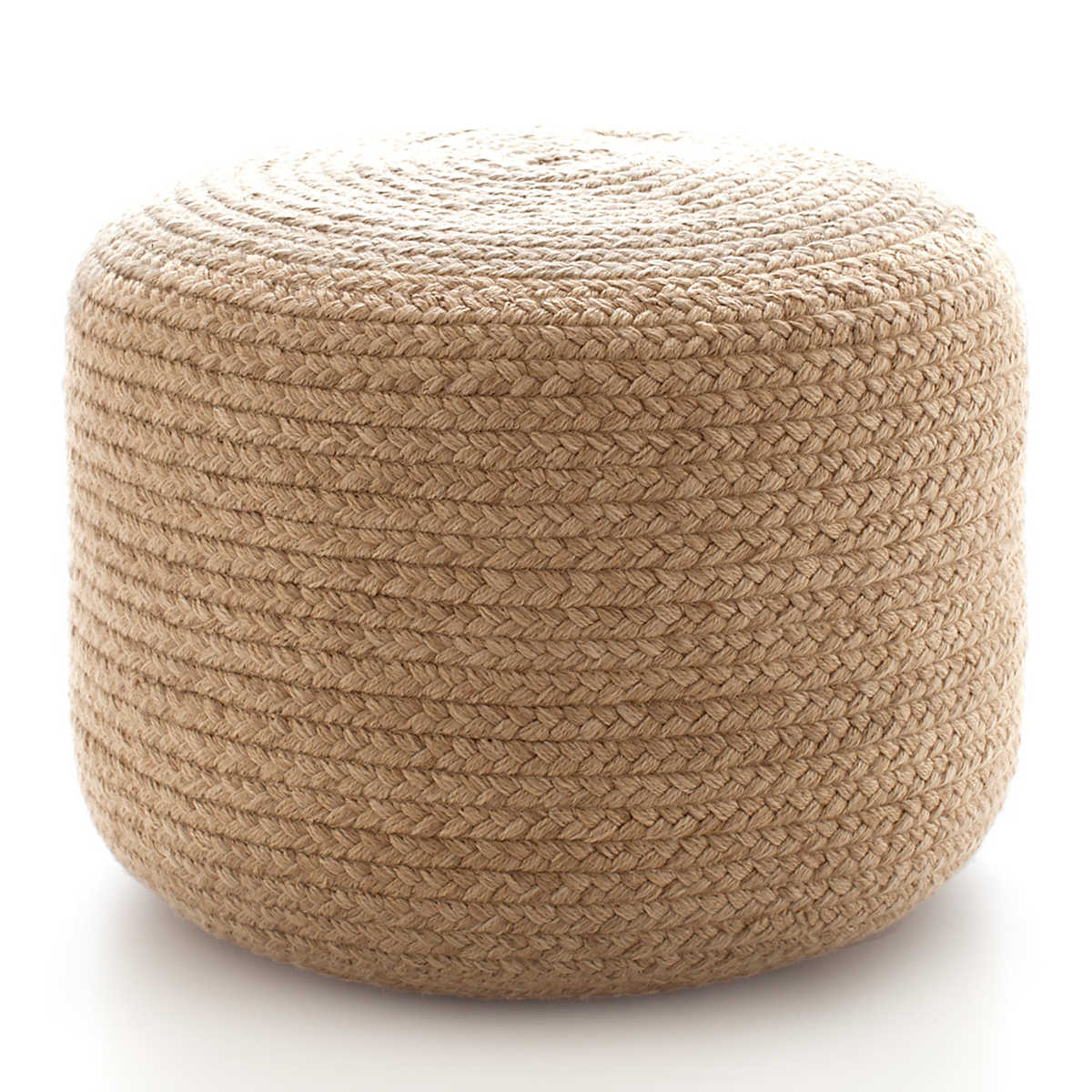 Braided Natural Indoor Outdoor Pouf Fresh American
