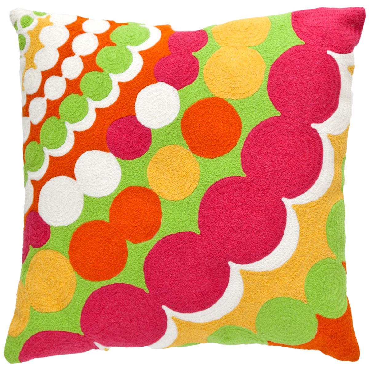 Fresh American Bubbles Apple/Fuchsia Indoor/Outdoor Pillow