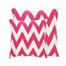 Fresh American Chevron Fuchsia/White Indoor/Outdoor Pillow
