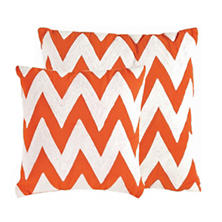 Chevron Tangerine/White Indoor/Outdoor Pillow
