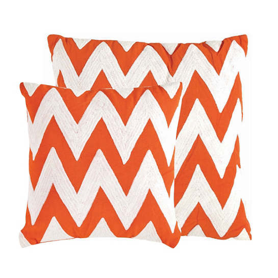 Fresh American Chevron Tangerine/White Indoor/Outdoor Pillow