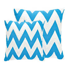 Fresh American Chevron Turquoise/White Indoor/Outdoor Pillow