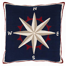 Fresh American Compass Navy Indoor/Outdoor Pillow