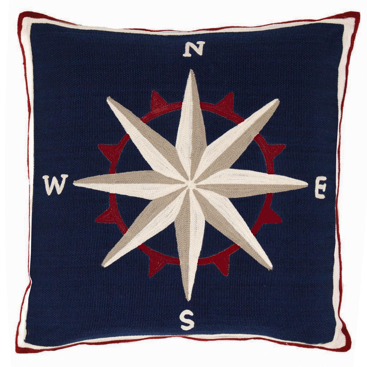 Fresh American Compass Navy Indoor/Outdoor Pillow