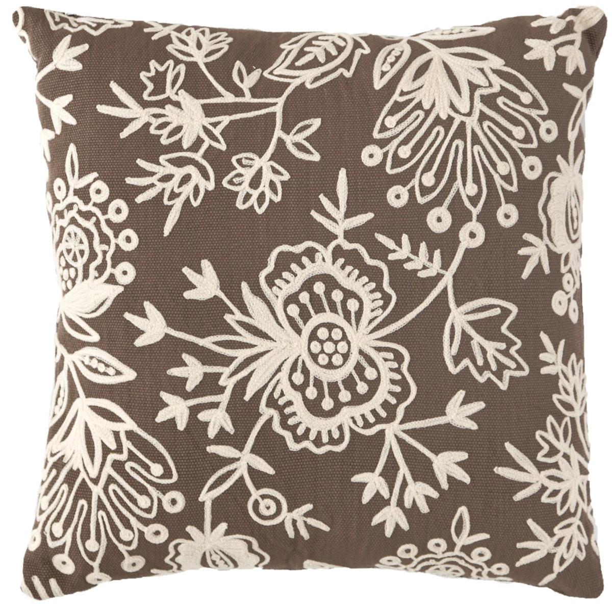 Fresh American Flora Crewel Charcoal Indoor/Outdoor Pillow
