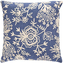 Fresh American Flora Crewel Denim Indoor/Outdoor Pillow