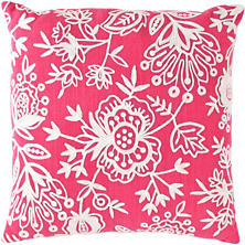 Fresh American Flora Crewel Fuchsia Indoor/Outdoor Pillow