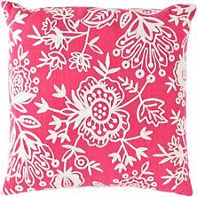 Fresh American Flora Crewel Fuchsia Indoor/Outdoor Pillow