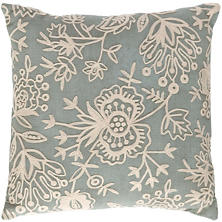 Fresh American Flora Crewel Light Blue Indoor/Outdoor Pillow