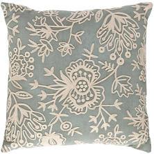 Fresh American Flora Crewel Light Blue Indoor/Outdoor Pillow