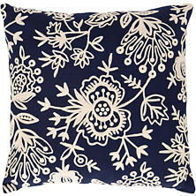 Fresh American Flora Crewel Navy Indoor/Outdoor Pillow