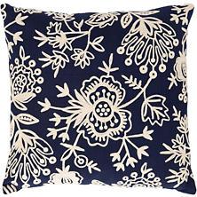 Fresh American Flora Crewel Navy Indoor/Outdoor Pillow