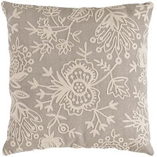 Fresh American Flora Crewel Platinum Indoor/Outdoor Pillow