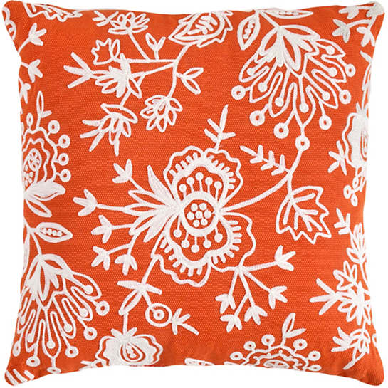 Fresh American Flora Crewel Tangerine Indoor/Outdoor Pillow