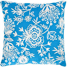 Flora Crewel Turquoise Indoor/Outdoor Pillow