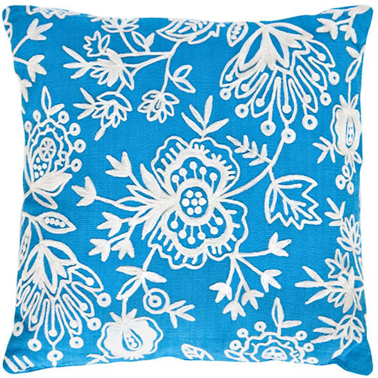 Fresh American Flora Crewel Turquoise Indoor/Outdoor Pillow