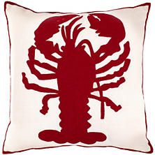 Lobster Ivory/Red Indoor/Outdoor Pillow